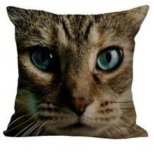 3d Animal Face Cute Cat Linen Throw Pillow Case Cushion Cover