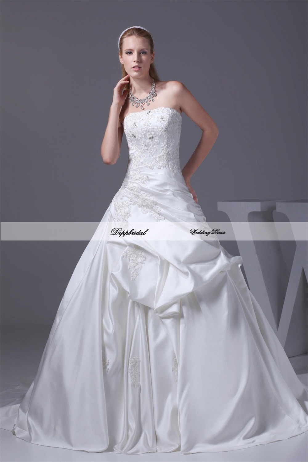 Wholesale Wedding Dress Satin Ball Gown Strapless Crystals