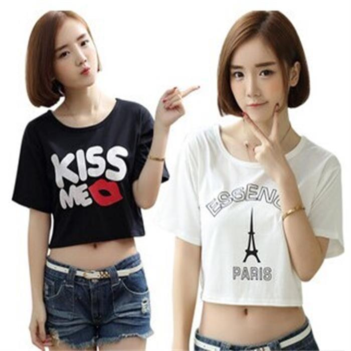 Free shipping summer 2015 new Korean letters printed cotton loose women's short sleeve T-shirt female short-sleeve personality(China (Mainland))