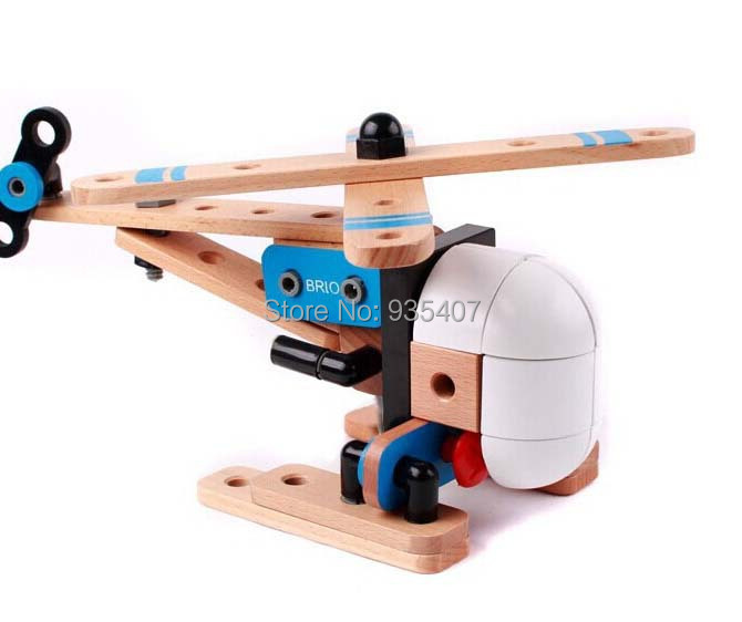 Wood Building Toys For Boys : New free shipping baby toys brio diy assemble helicopter