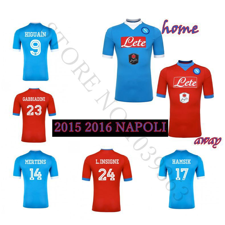 Гаджет  2015 2016 Napoli soccer jersey 15 16 thai quality Naples home blue away red MICHU MERTENS HIGUAIN CALLEJON INSIGNE HAMSIK shirt None Спорт и развлечения
