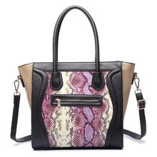 MISS LULU Miss Lulu Women Designer Celebrity Snake Skin Leather Smile Handbag Large Shoulder Satchel Tote Hand Bag LT1659 PE(China (Mainland))