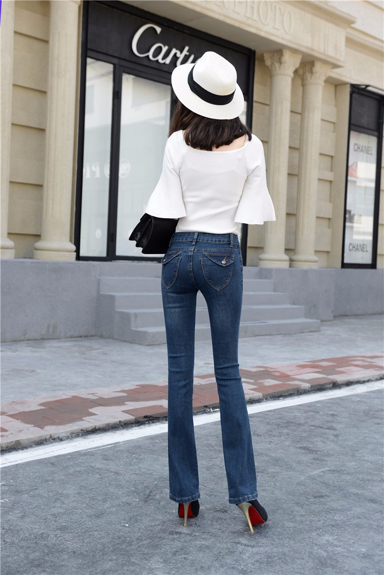 Скидки на Дамы средний талия полная длина denim flare брюки плюс размер fashion street wear slim fit эластичный крошечные вспыхнул джинсы женщины