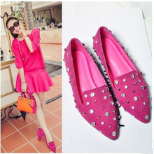 2015 spring new hot low-heeled pointed shoes shallow mouth rhinestone low-heeled leather shoes(China (Mainland))