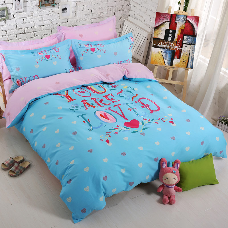 Фотография red love heart pattern cool comforter sets blue pink red duvet covers girls and boys love sheets luxury soft bedding sets