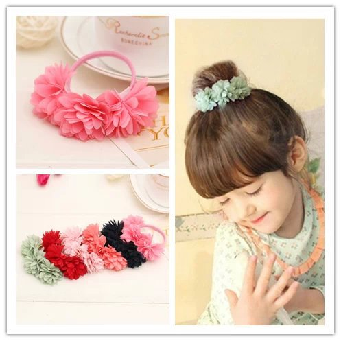 Chiffon flowers children baby girls hair accessories rubber bands barrettes girl headwear bow Retail wholesale Boutique SF-479(China (Mainland))