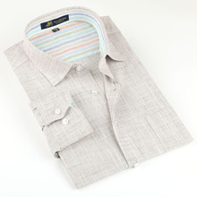 Brand high quality Linen Men's Shirts Long Sleeve Male Casual Business Shirts Flax dress shirt for man(China (Mainland))