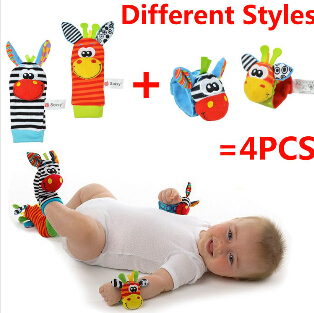 Free shipping, NEW STYLE (4pcs=2 pcs waist+2 pcs socks)/lot,baby rattle toys Garden Bug Wrist Rattle and Foot Socks(China (Mainland))