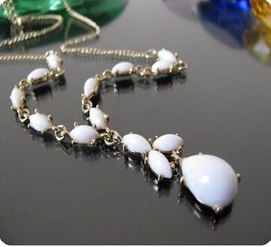 Design Elegent Gold Color Alloy White Water Drop Pendant Necklace Women Factory - 99 CARATS store
