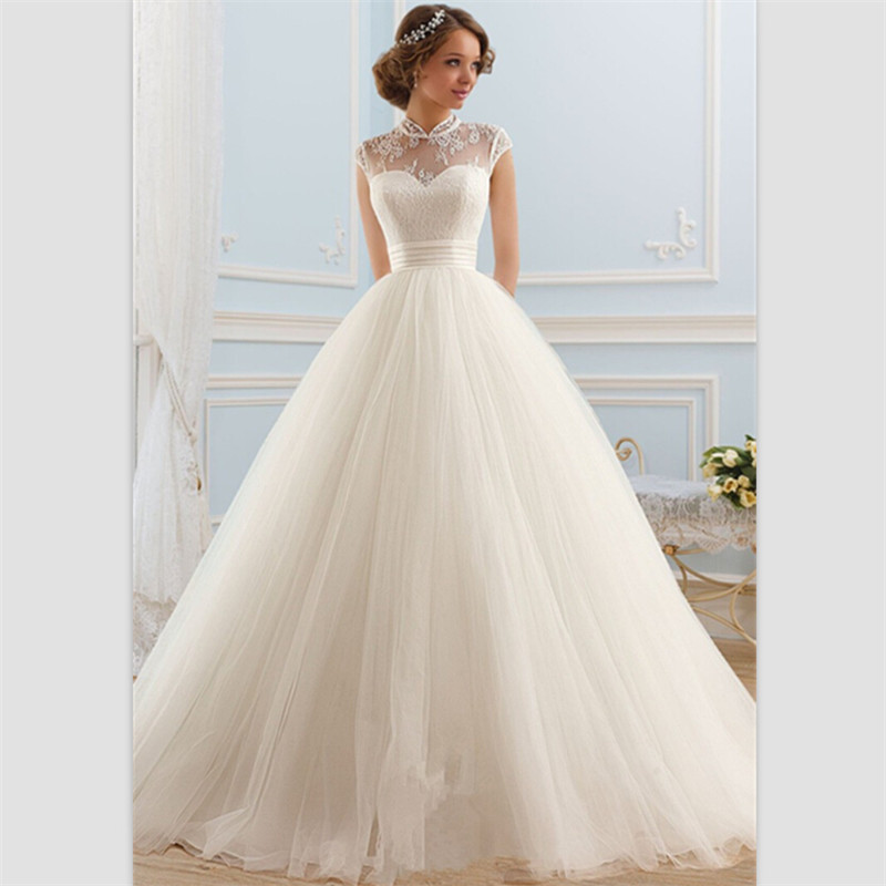 Wedding Dress Lace Up Kit : A line wedding dress sweep train white lace gowns