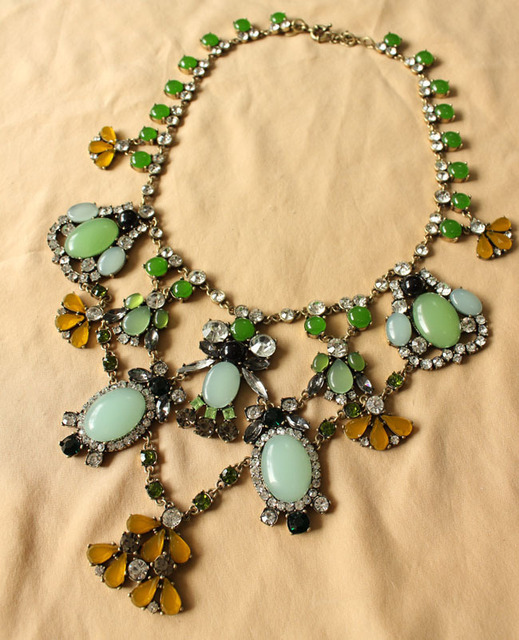 Wholesale J C JC Fashion Necklace Jewelry Designer Green Gem Fringe Pendant Statement Bib Collar Pave 2013 Vintage Free Shipping