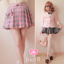 Buy Princess sweet lolita skirt England student preppy style pink plaid culottes pleated short skirts bow tie bow mini skirt b0760 for $30.20 in AliExpress store