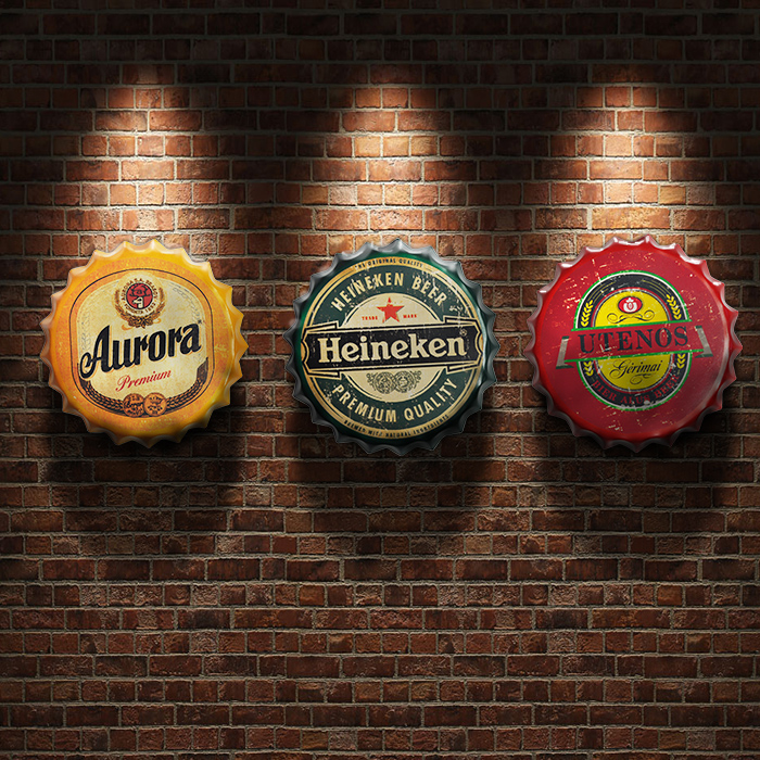American vintage beer bottle lid metal painting wall stereo decoration(China (Mainland))