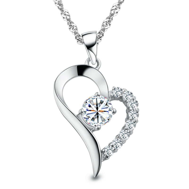 Silver Plated Cubic Zirconial Brand Love Heart Shape ...