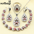 Distinctive Red Created Garnet 4PCS Jewelry Set 925 Sterling Silver Earrings Ring Necklace Pendant Bracelet Christmas