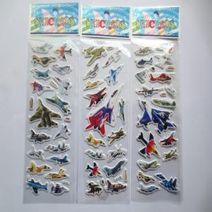 3d-пвх военный самолет пузырь стикер стены, 3D миньоны Robocar поли игрушки пузырь наклейки для детей фестиваль подарков декор наклейки