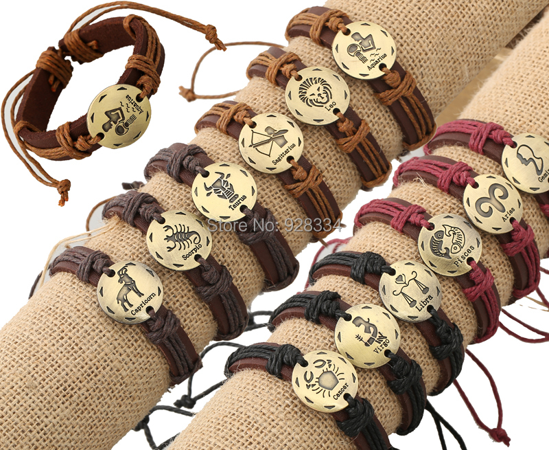Lots 1Adjustable unisex real cow cuff leather bracelets ZODIAC bangles wristband jewelry - First-Rate Jewelry store
