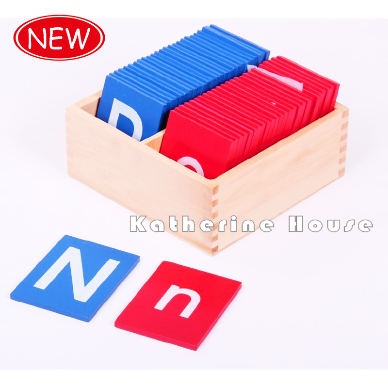 2016 New Arrival Baby Toys Montessori Lower And Capital Case Sandpaper Letters Boxes Wooden Kids Educational Early Development<br><br>Aliexpress