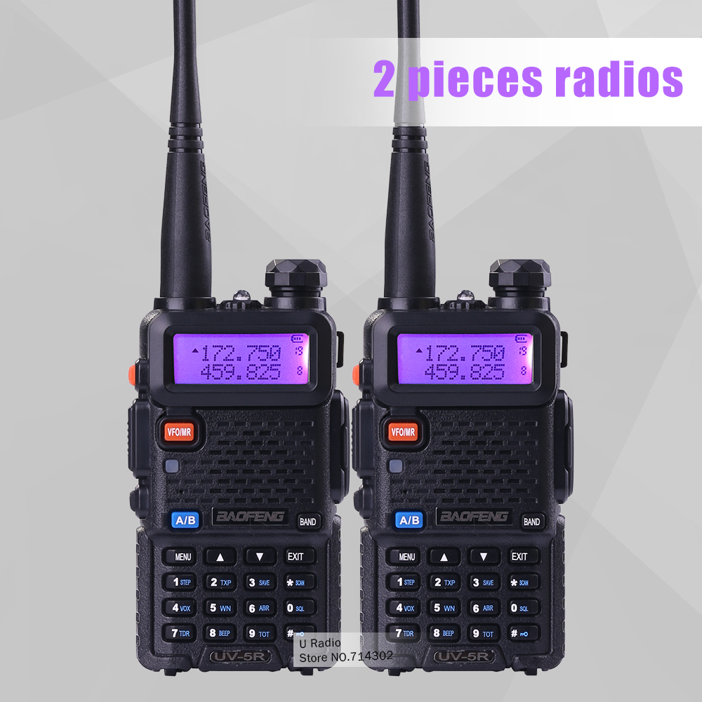 2 piece baofeng dualband UV-5R walkie talkie radio dual display 136-174/400-520mHZ two way radio with free earpiece BF-UV5R(China (Mainland))