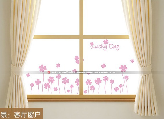 MeleStore Romantic Flowers Waistline Wall Sticker Shop Showcase Glass Middle Line Window Stickers Home Decoration Lucky Day(China (Mainland))
