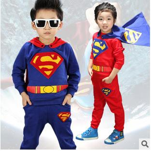 Fashion 2015 autumn boys superman sets baby boys cartoon tops +pants suit sets children's clothing sets kids cotton casual sets(China (Mainland))