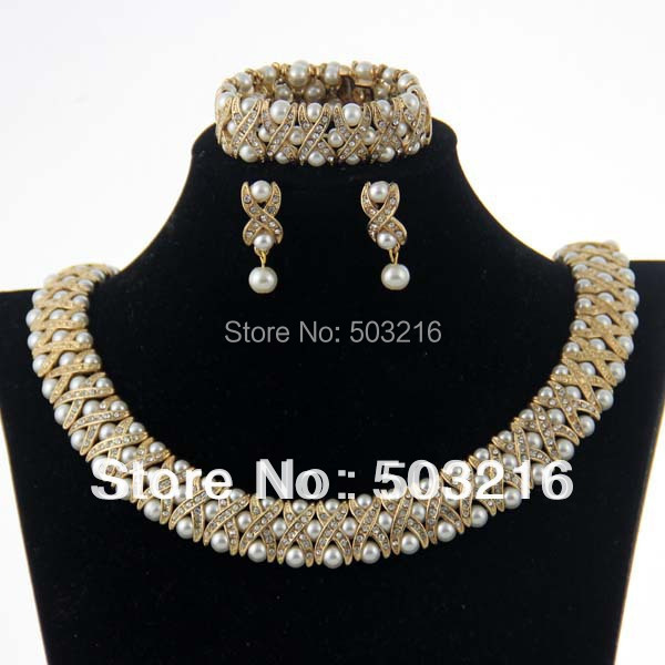 High Quality Clear Crystal Rhinestone 18 K Gold Plated  Hot Sale Indian Necklace & Earrings & Bracelet Pearl Bridal Jewelry Set