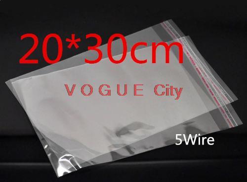 100 pcs/lote 20 * 30 CM cristal en plastique transparent sacs polypropylène violoncelle refermable sacs poly sac PP sacs(China (Mainland))