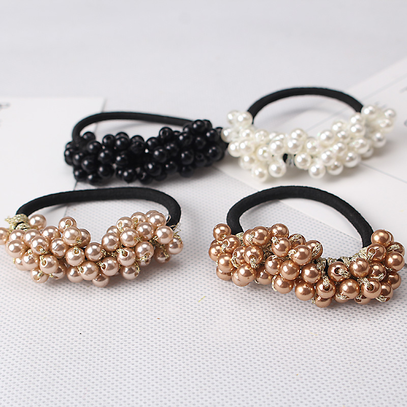 M MISM Fashion Hair Accessories Solid Color Semi-circle Pearl Beads Rubber Headbands Women Ponytail Holder Elastic Hair Bands(China (Mainland))