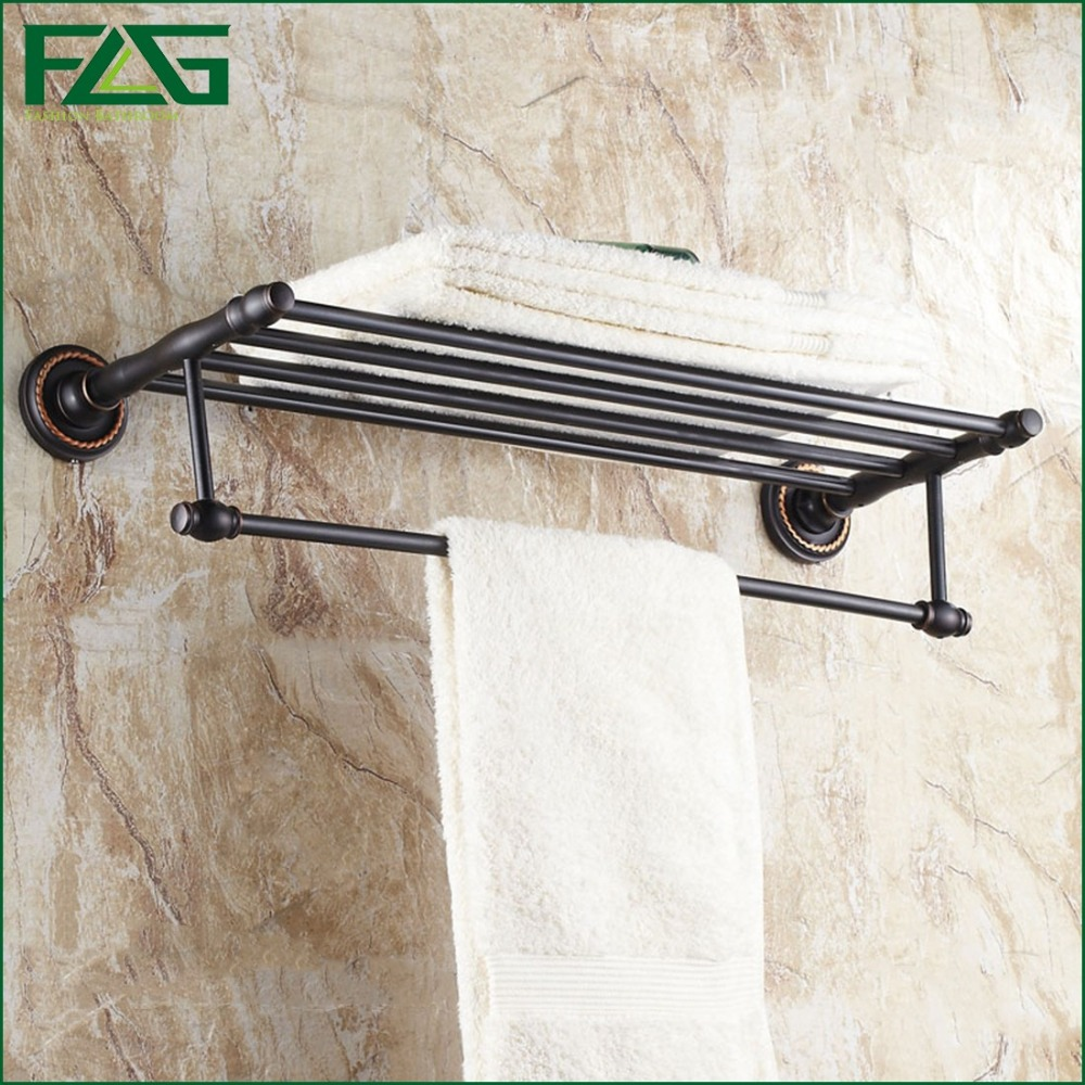 FLG Wholesale Luxury Solid Brass Bathroom Set Oil Rubbed Wall Mounted Bathroom Accessories Double Towel Racks Free Shipping G161(China (Mainland))