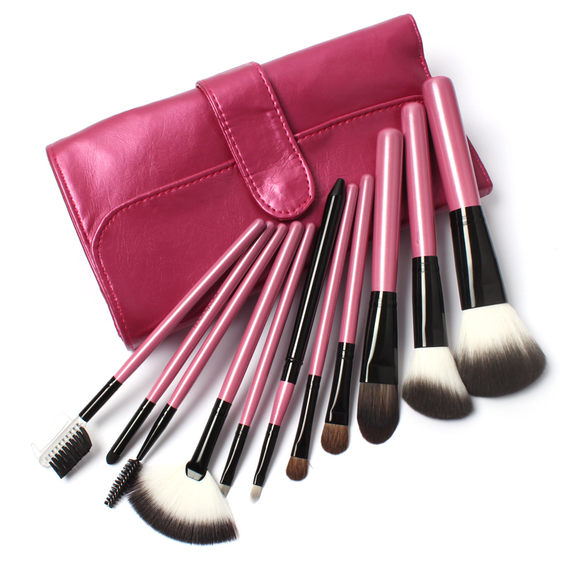 11 PCs Makeup Goat Hair Make up Brush Pony Hair Brushes Kit Ultra Soft Synthetic Hair