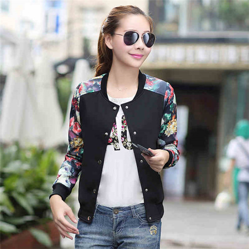 Plus Size XXXL Jackets Woman 2015 Fashion Korean Floral Print Female Short Jacket Lady Coat Spring Fall Womens Jackets And Coats(China (Mainland))