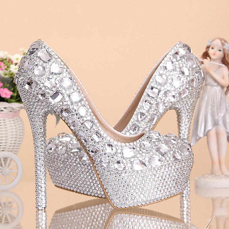 2015 wedding shoes women high heels crystal fashion bridal for Heels for wedding dress