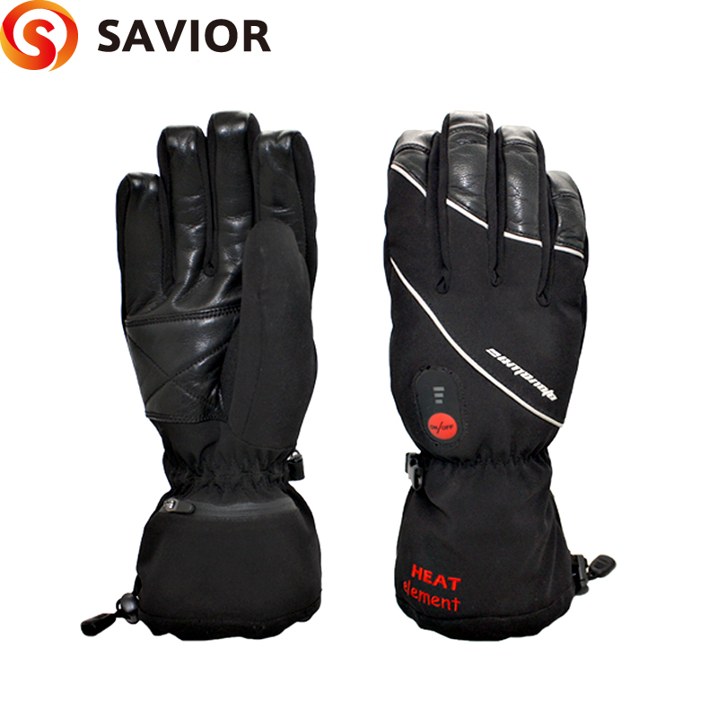 SAVIOR brand S-01 Winter Heated ski Gloves electric heating 7.4V lithium battery soft liner choice grades of material leather(China (Mainland))