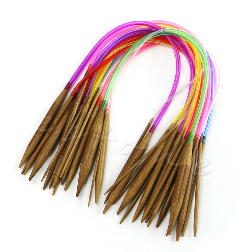 "18Pcs 40cm 16"" Carbonized Bamboo Knitting Needles Multicolor Tube Circular New Free shipping-Y102"