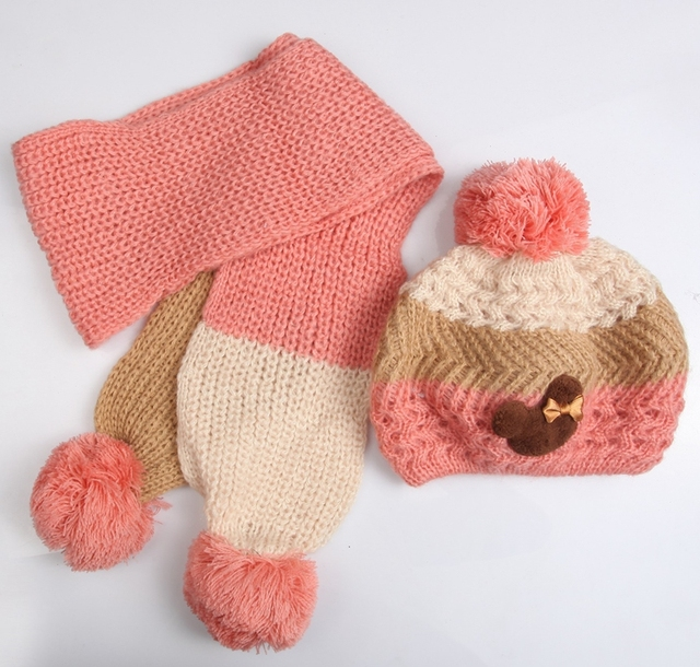 Mikey baby baby warm hats scarf set rainbow cat winter beret 3 color children warmer baby clothing #2C2694  5 set/lot(4 colors)