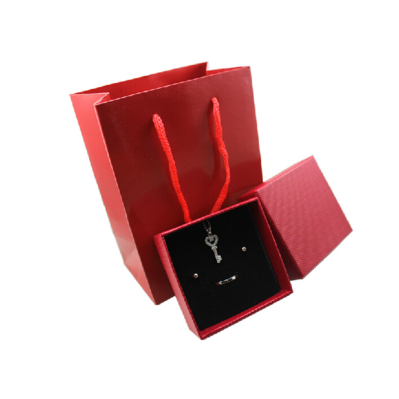 12pieces/lot hot selling red color paper jewelry boxes and packaging,box 7.3*7.3*3.5cm and bag15.5*11.5*7.1cm(China (Mainland))