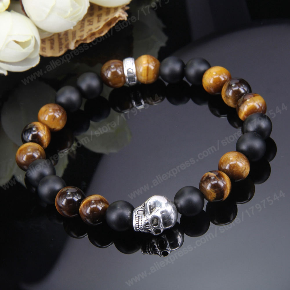 Thomas SKULL, MATT BLACK OBSIDIAN AND TIGER'S EYE BEADS ELASTIC BRACELET, 925 Silver Rebel Heart Jewelry for Men TS B147(China (Mainland))