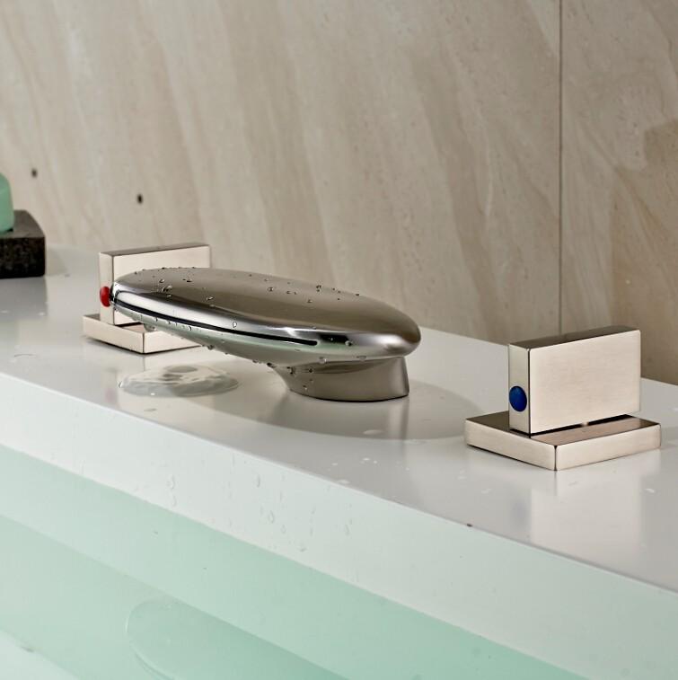 Купить Ванная комната LED 3 Цвета Водопад 3 шт. Смеситель для раковины Кран Матовый Никель Бортике LED Широкое Бассейна Кран нажмите