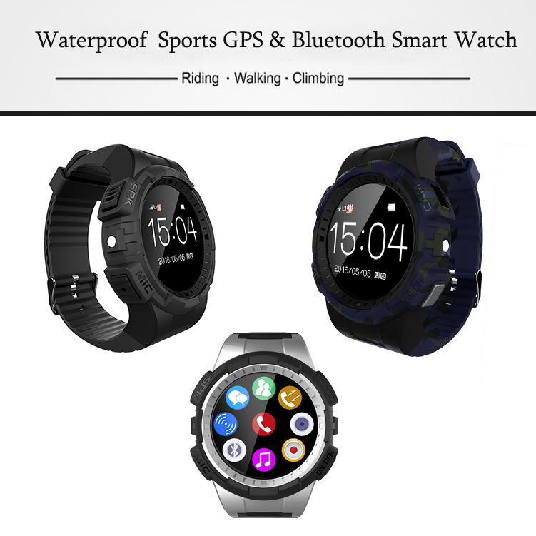 Waterproof Bluetooth GPS Smart Watch for Iphone Samsung with Camera MP3 Sim Player Call Text SOS Voice message(China (Mainland))