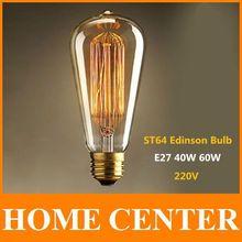 St64 Antique rétro Vintage E27 40 W 60 W 220 V Edison ampoule à incandescence lumière cage d'écureuil Led Filament ampoule(China (Mainland))