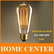 ST64 Antique Retro Vintage E27 40W 60W  220V Edison Light Bulb Incandescent Light Squirrel-cage Led Filament Bulb(China (Mainland))