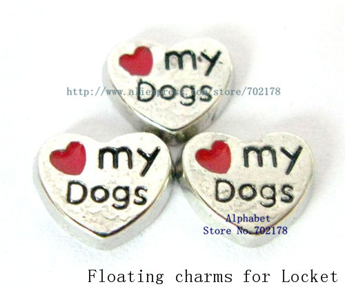 wholesales 10pcs FC043 red Floating Locket charms love my dog for floating locket as mom Dad friend sister brother grandma gift(China (Mainland))