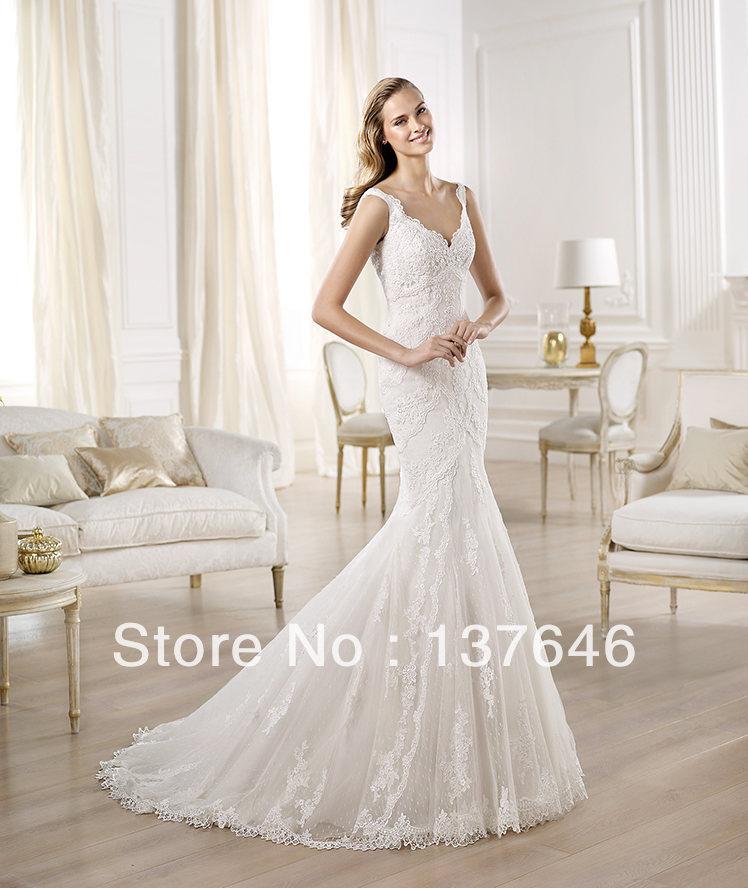 ElegantUSA 2014 Garden Plunging Neckline Sleeveless Mermaid Lace Elie Saab Wedding Dresses OMBU Free shippingdiscount(China (Mainland))
