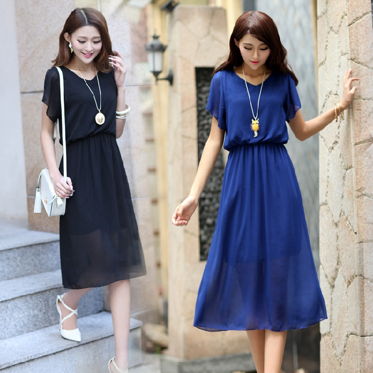 2015 summer women's Batwing short-sleeve chiffon V-neck Ankle-Length work A-line female slim solid one-piece dress lady wear(China (Mainland))