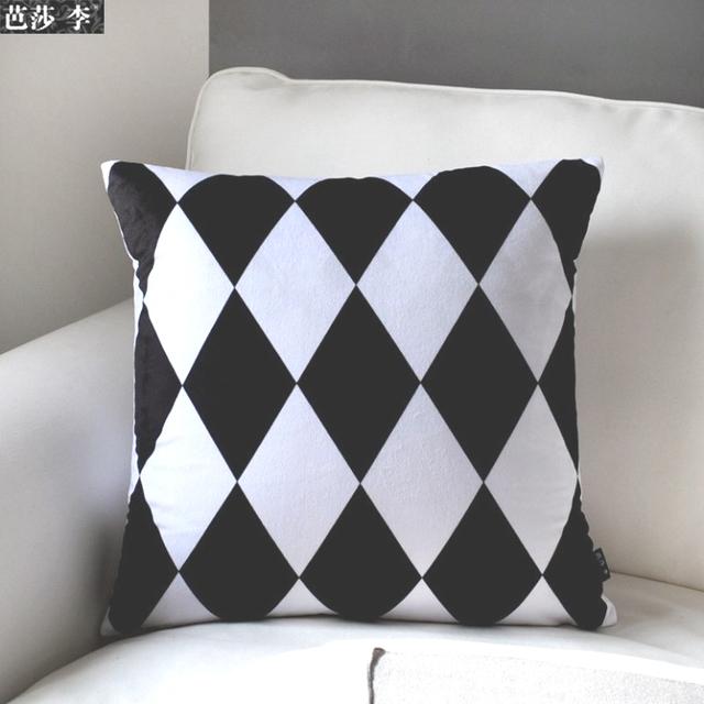 H3136 nouveau design moderne g om trique motif housse de coussin noir blanc c - Coussin pour canape noir ...