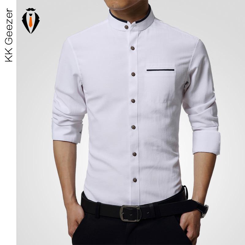 High Quality Mens Dress Shirt Long Sleeve Cotton Male
