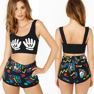 Summer Black Print Palm Cotton Sexy Women Bustier Crop Top Boxing Sports Tanks Hippie Tops Blusa De Renda Clothing Tees X3(China (Mainland))