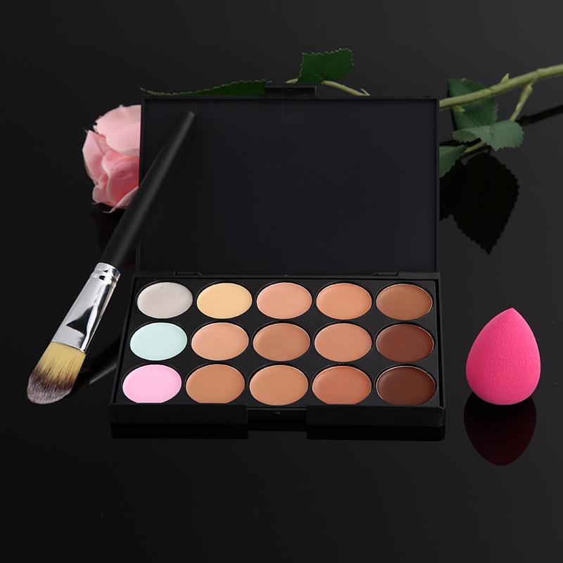 15 Color Concealer Palette + Makeup Brush + Cute Pink Sponge Puff Makeup Contour Palette Paleta De Corretivo Facial #F9s F#OS<br><br>Aliexpress