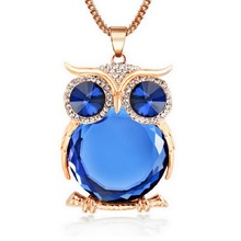 2016 New Fashion Statement Owl Crystal Necklaces Pendants For Women As A Gift,Gold & Silver Chain Long Jewelry,collier femme(China (Mainland))
