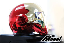 Masei bike scooter moto electroplate Red golden iron man font b helmet b font motorcycle font